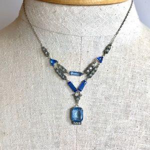 Art Deco Vintage Necklace Sky Blue Glass